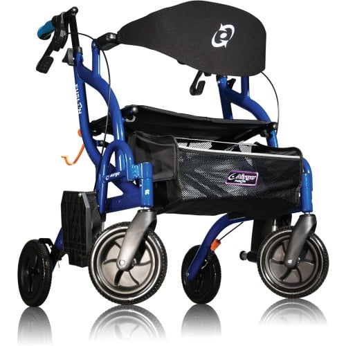 AirGo Fusion Side Folding Rollator and Transport Chair - Pacific Blue